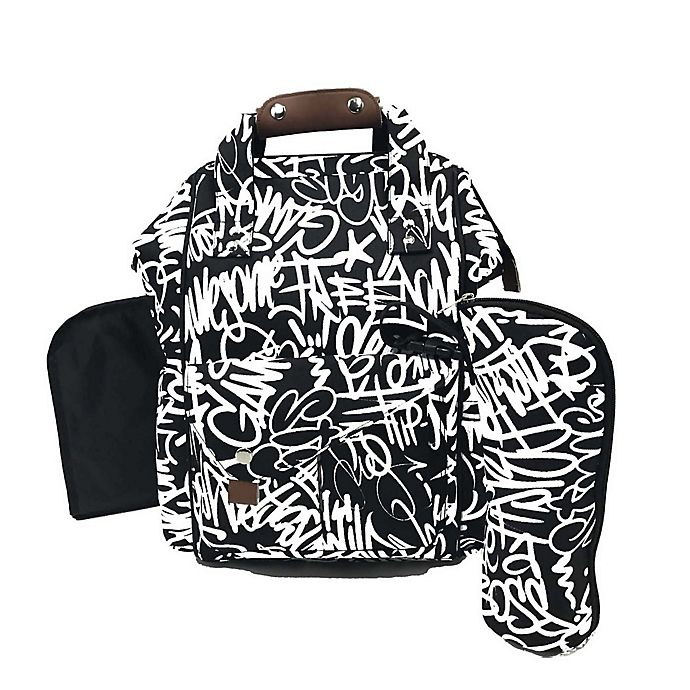 Alternate image 1 for The Physics of HipHop Backpack Diaper Bag in Graffiti Print