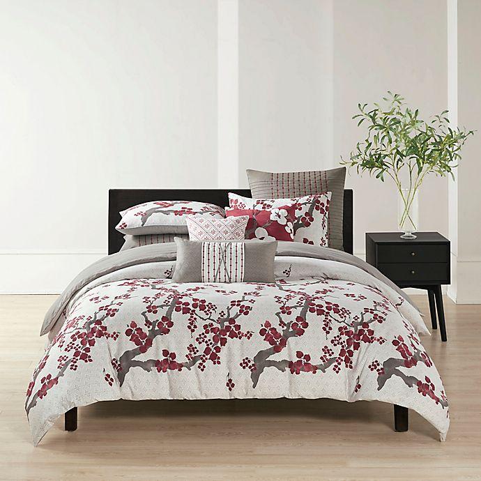 Alternate image 1 for N Natori® Cherry Blossom Reversible Queen Duvet Cover Set