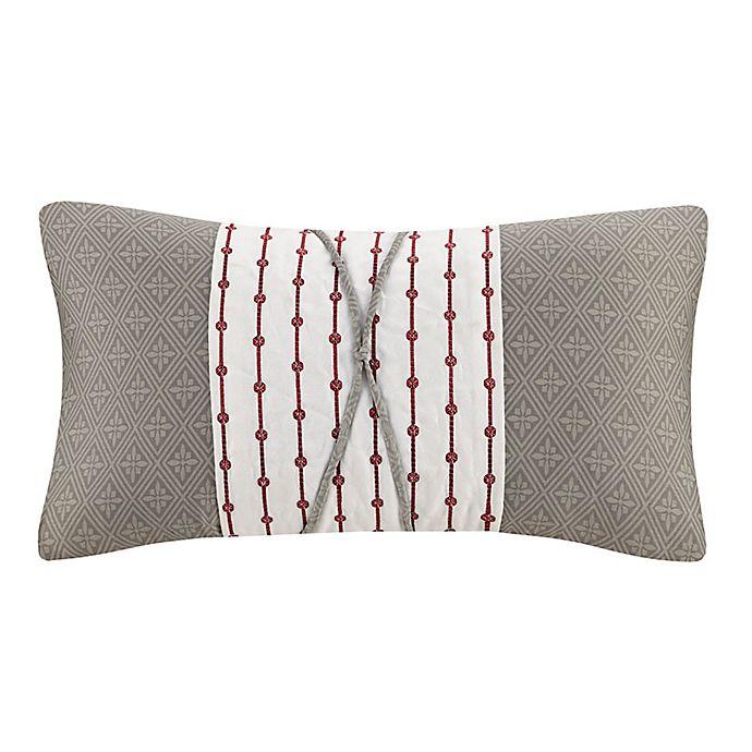Alternate image 1 for N Natori® Cherry Blossom Oblong Throw Pillow in Grey