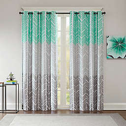 Intelligent Design Adel Printed Blackout 84-Inch Window Curtain Panel in Aqua