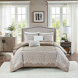Madison Park® Henrietta Jacquard 5-Piece Full/Queen Comforter Set in Taupe