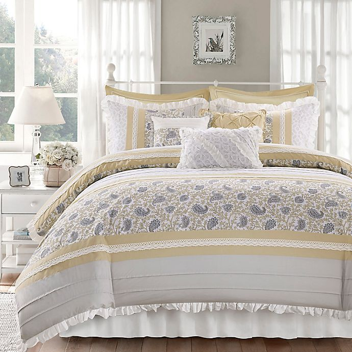 Alternate image 1 for Madison Park® Dawn 9-Piece California King Duvet Cover Set in Yellow