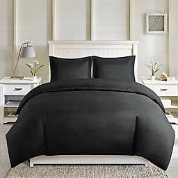 Madison Park Essentials Larkspur 3-Piece Reversible King Duvet Cover Set in Black/Black