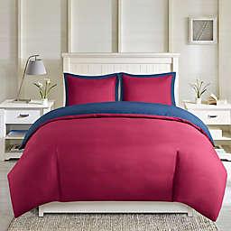 Madison Park Essentials Larkspur 3-Piece Reversible Full/Queen Duvet Cover Set in Red/Navy