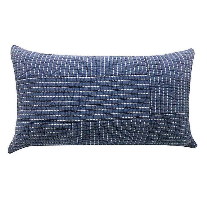 Alternate image 1 for Bee & Willow™ Home Yarn Dye Chambray Oblong Throw Pillow in Blue