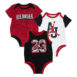Jordan 3-Pack March Madness Bodysuits in White/Black/Red