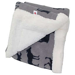 CosyCare Mountain Moose Print Fleece Baby Blanket in Grey