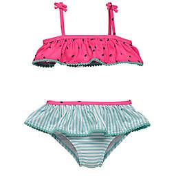 Wetsuit Club® 2-Piece Watermelon Strip Tankini Swimsuit Set in Pink/Blue