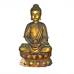 Sunnydaze Relaxed Buddha Outdoor Fountain in Gold with Light and Pump