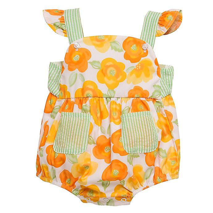 Alternate image 1 for Baby Starters® Size 18M Floral Romper with Seersucker Trim in Orange