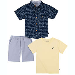 Nautica® Size 18M 3-Piece Fish Button Down Shirt, T-Shirt, and Short Set in Navy/Yellow