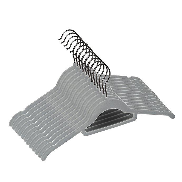 Alternate image 1 for Squared Away™ Velvet Slim Shirt Hangers with Matte Black Hook (Set of 12)