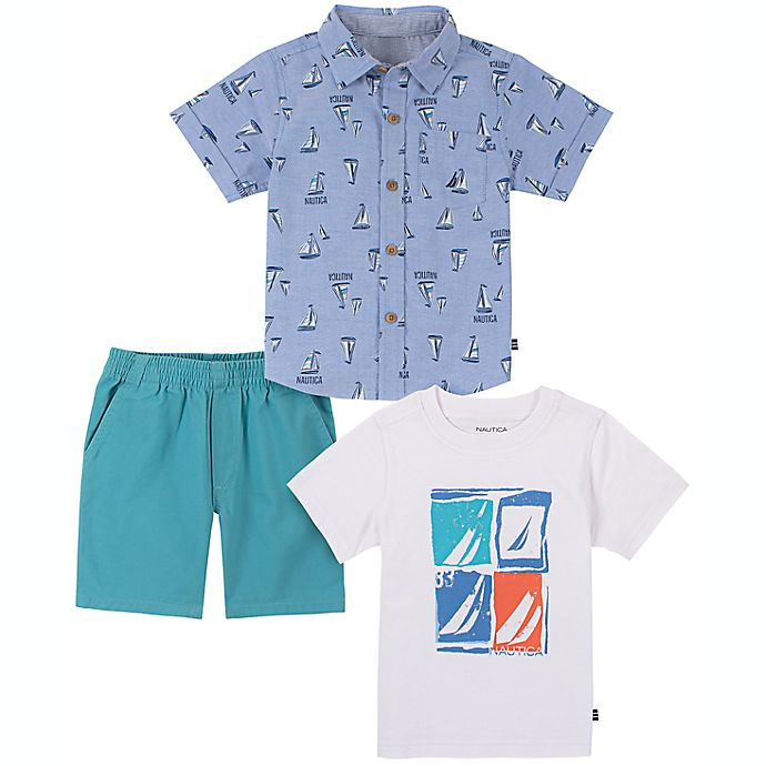 Alternate image 1 for Nautica® Size 24M 3-Piece Sailboat Button Down Shirt, T-Shirt, and Short Set in Mint