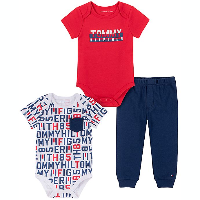 Alternate image 1 for Tommy Hilfiger® Size 6-9M 3-Piece Short Sleeve Bodysuit and Pant Set in Navy/Multi