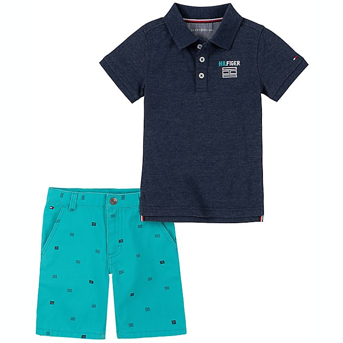 Alternate image 1 for Tommy Hilfiger® 2-Piece Polo Shirt and Short Set in Navy/Turquoise
