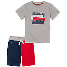 Tommy Hilfiger® Size 6-9M 2-Piece Shirt and Knit Short Set in Red/Blue
