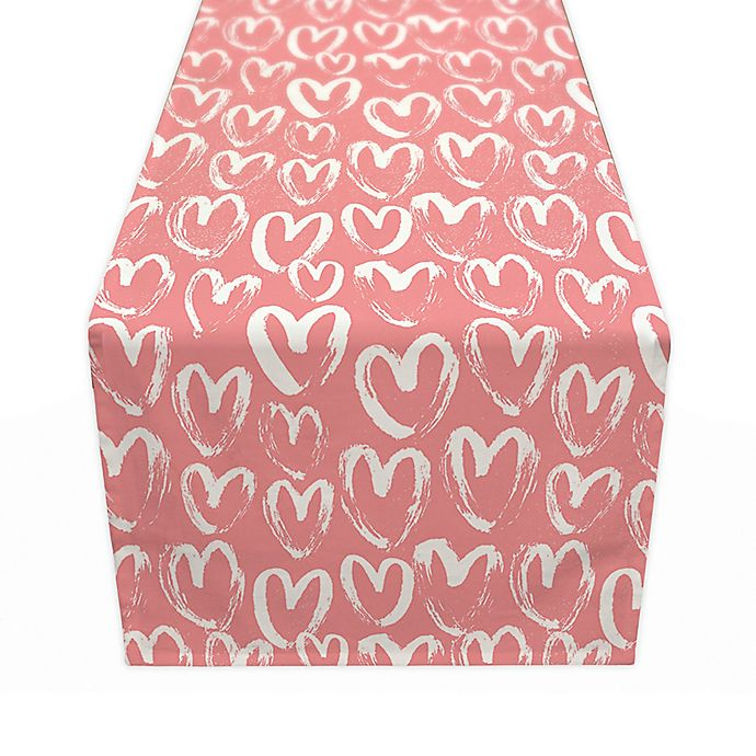 Alternate image 1 for Designs Direct Scribble Heart Pattern Table Runner in Pink
