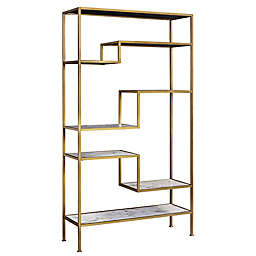 Versanora Marmo 5-Tier Faux Marble Bookcase in Gold