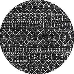 JONATHAN Y Moroccan Hype Boho Diamond 5' Round Area Rug in Black/Ivory