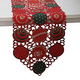 Pillow Perfect Ornaments 68-Inch Table Runner in Red/Green