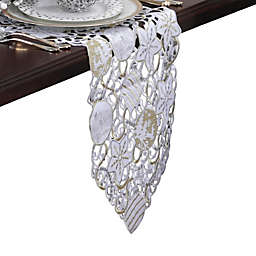 Pillow Perfect Ornaments 68-Inch Table Runner in White/Silver