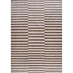 JONATHAN Y Sukie Offset Stripe Indoor/Outdoor Area Rug in Beige/Brown