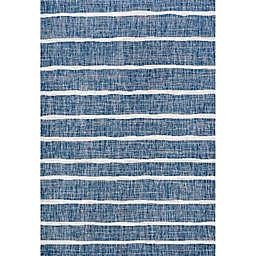 JONATHAN Y Colonia Berber Stripe Rug in Blue/Ivory