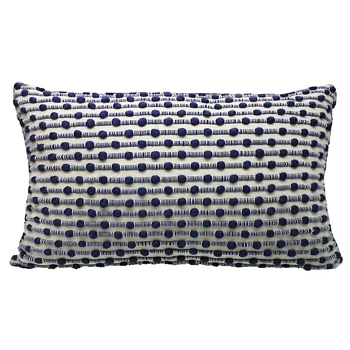 Alternate image 1 for Bee & Willow™ Home Slub Stitch Oblong Throw Pillow in Ivory/Blue