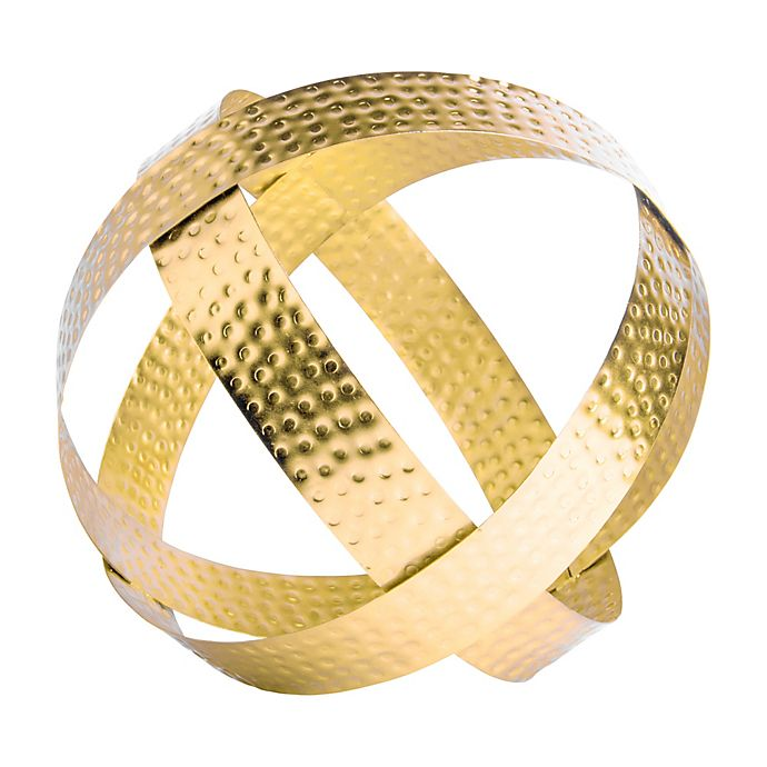 Alternate image 1 for Home Essentials & Beyond™ 9-Inch Hammered Metal Orb in Gold