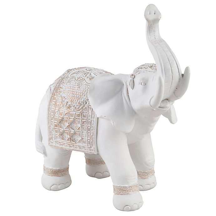 Alternate image 1 for Home Essentials & Beyond™ 9.5-Inch Elephant Figurine in White with Gold Accents