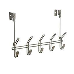 Squared Away™ Over-the-Door 5 Hook Rack in Nickel