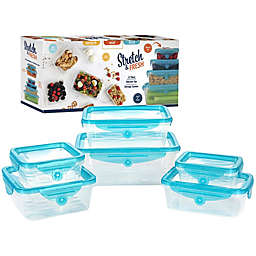 Stretch and Fresh 12-Piece Stackable Food Storage Container Set in Clear/Blue