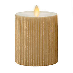 Luminara® Moving Flame® 4.5-Inch Gold Ribbed Real-Flame Effect Pillar Candle