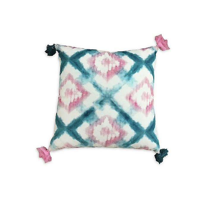 Alternate image 1 for Wild Sage™ Kiera Crossed Diamonds Square Throw Pillow in Turquoise/Pink