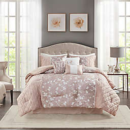 Madison Park® Marling Printed Velvet 7-Piece California King Comforter Set in Blush
