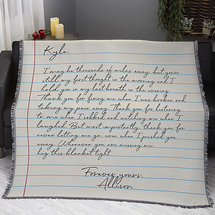 Alternate image 1 for Printed Love Letter Woven Throw Blanket in White