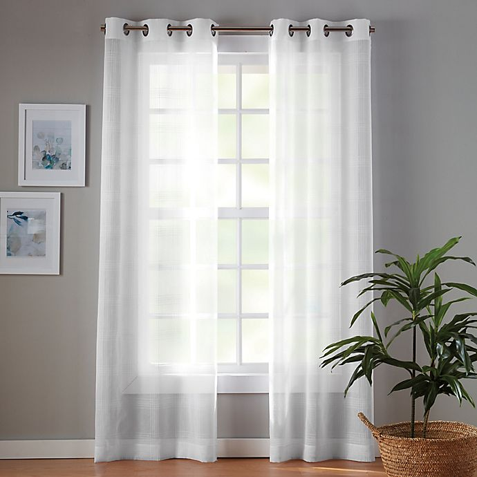 Alternate image 1 for Simply Essential™ Plaid Grommet Sheer Window Curtain Panels (Set of 2)