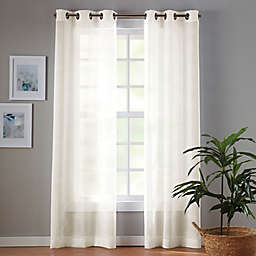 Simply Essential™ Plaid 2-Pack 108-Inch Grommet Sheer Window Curtain Panels in Egret Taupe