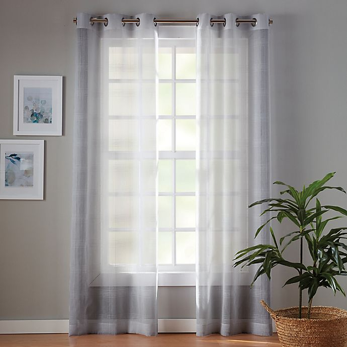 Alternate image 1 for Simply Essential™ Plaid 63-Inch Sheer Curtain Panels in Micro Chip Grey (Set of 2)