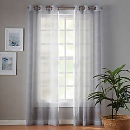 Simply Essential™ Plaid 63-Inch Sheer Curtain Panels in Micro Chip Grey (Set of 2)