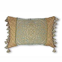 Newport Boudoir Medallion Oblong Throw Pillow in Taupe/Green