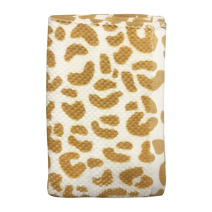 Alternate image 1 for Wild Sage™ Leopard Hand Towel in Yolk Yellow