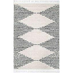 nuLOOM Bria Moroccan Diamond Tassel 6' Square Area Rug in Off White