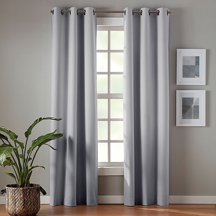 Alternate image 1 for Simply Essential™ Robinson 63-Inch Grommet Blackout Curtain Panels in Grey (Set of 2)