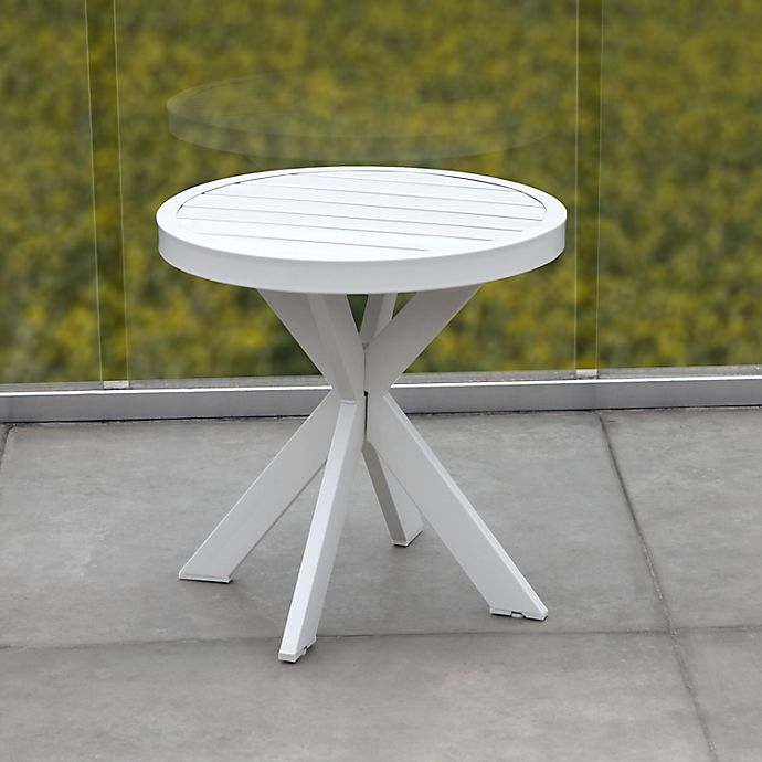 Alternate image 1 for Bee & Willow™ Home Slatted 18-Inch Round All-Weather Patio Accent Table in White