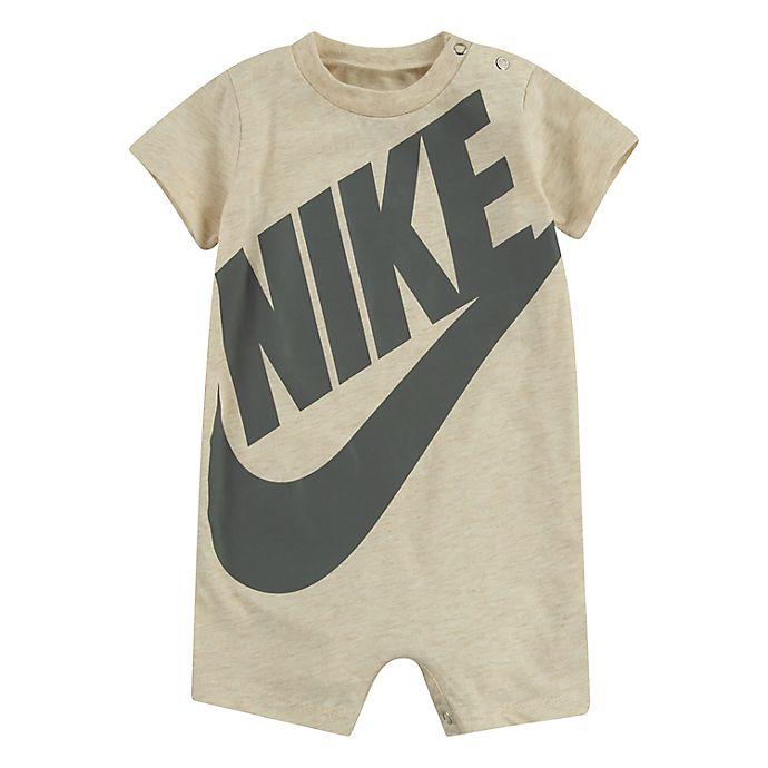 Alternate image 1 for Nike® Size 18M Futura Short Sleeve Romper in Ivory/Grey