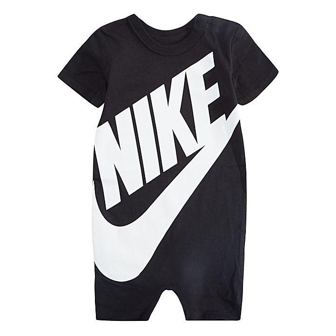 Alternate image 1 for Nike® Size 18M Futura Short Sleeve Romper in Black/White