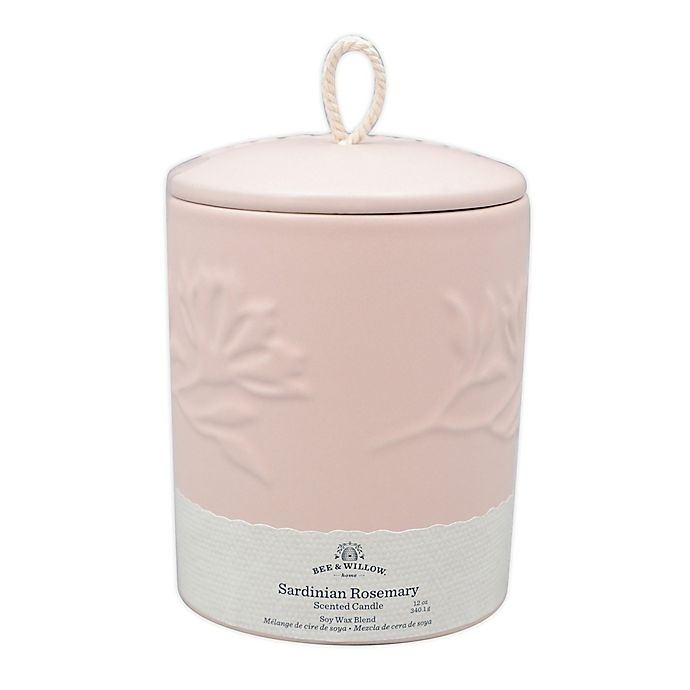 Alternate image 1 for Bee & Willow™ Sardinian Rosemary 12 oz. Spring Embossed Ceramic Candle