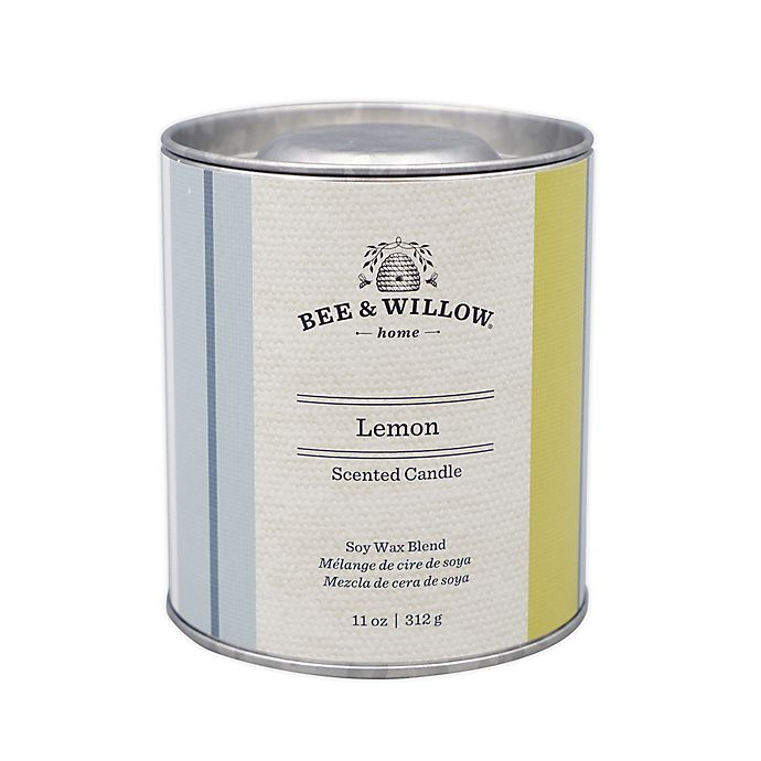 Alternate image 1 for Bee & Willow™ Lemon 11 oz. Tin Candle with Linen Stripe Design