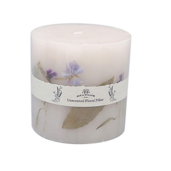 Alternate image 1 for Bee & Willow™ Home 24 oz. Flower Spring Unscented Pillar Candle in Blue